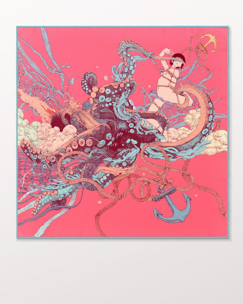 Kraken Girl 真丝斜纹绸方巾