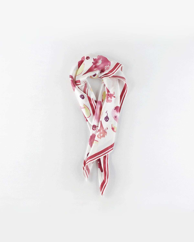 深粉果味冰激淋印花丝巾