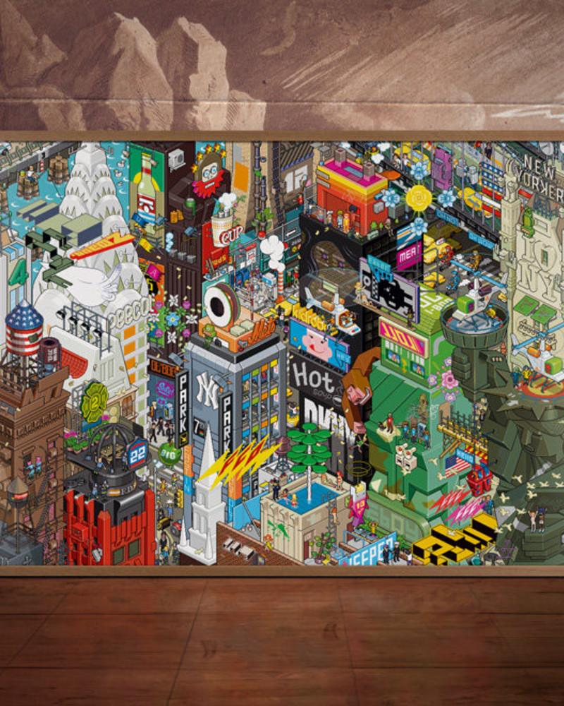 像素艺术插画   New York Poster A0