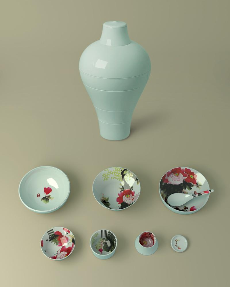 【幻影果盘系列】Peony Ming-Set of 6 stackable pieces   牡丹明+勺